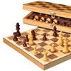 Jeu d'échecs pliable bois marqueté