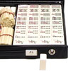 Mahjong étui vinyle noir, tuiles résine