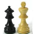 Pièces échecs plombées 83mm Buis teinté noir / Buis