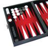 Backgammon magnétique, intérieur feutrine rouge, mallette aspect cuir noir 23cm