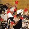 Coqs et Poules - art japonais - puzzle Michèle Wilson 150 pièces
