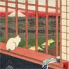 Chat devant les rizières - Hiroshige - puzzle Michèle Wilson 350 pièces