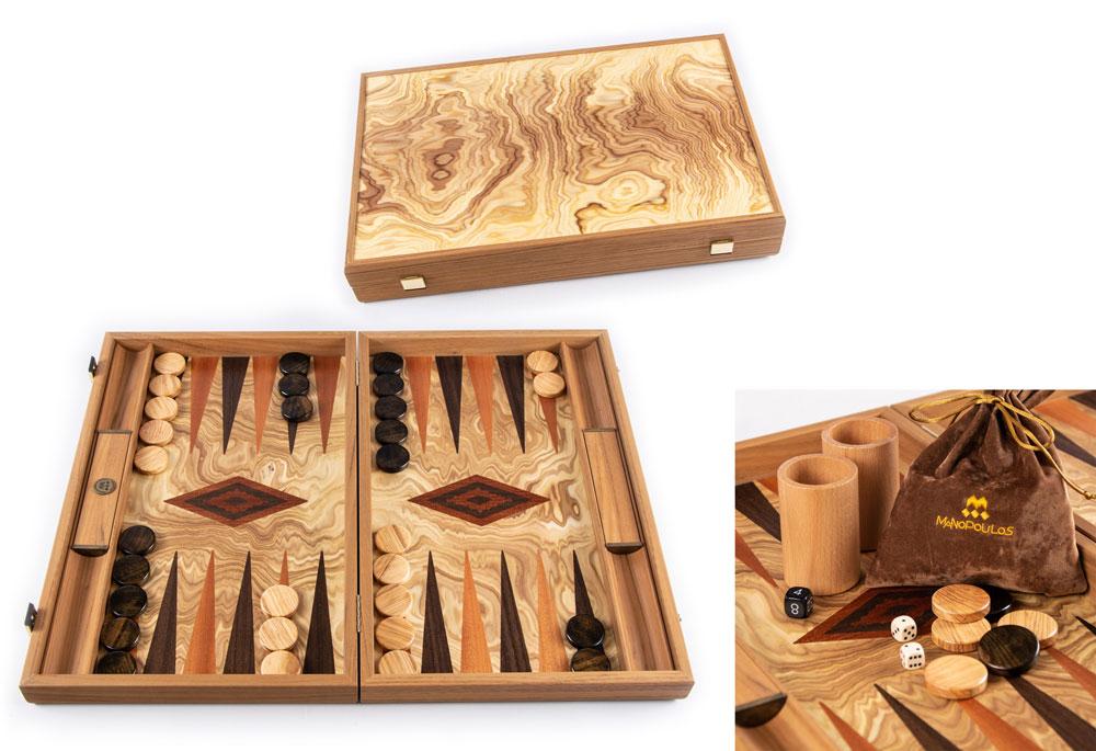 Backgammon Premium en loupe d'olivier 60cm