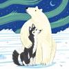 L'ours et le Husky - Lake - puzzle Michèle Wilson 12 pièces - BOÎTE KRAFT