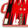 Backgammon feutrine rouge, mallette aspect cuir rouge 38cm