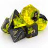 7 Dés polydice en boite GEM BLITZ jaune/noir