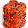 12 dés 16mm Orange (orange / points noirs)