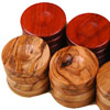Pions de Backgammon en olivier/rouges 36mm